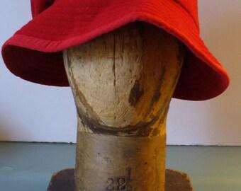 Onorio Cioppi Firenze Tomato Red Brimmed Cloche Hat