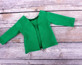 SAMPLE SALE - Fits like American Girl Doll Clothes - Cardigan in Kelly Green | 18 Inch Doll Clothes