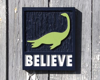Champ Believe sign hand carved wood Lake Champlain decor Vermont sign Lake Monster sign