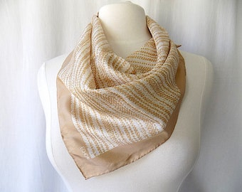ECHO Scarf in Beige & White with Hand Rolled Edges