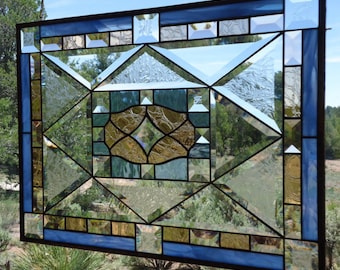 """stained glass window hanging""""DAZZLING DIAMOND 2"""" clear, gluechip& peach beveled glass, hand blown glass,stained glass suncatcher, suncatcher"""