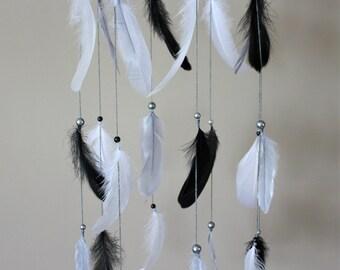 Black Grey White Mobile-Baby Boy Nursery-Feather Mobile-Dream Catcher Mobile-Tribal Nursery-Baby Shower Gift-Rustic Nursery-Baby Boy Gift