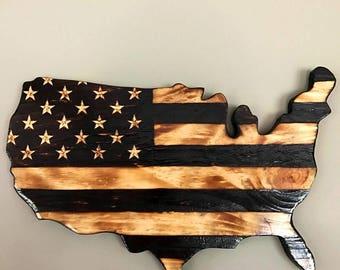 Handmade Burned Wood United States Cutout