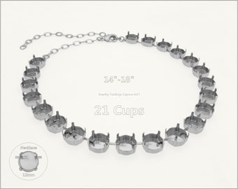 1 pc.+ 21 Cups, 12mm Empty Cup Chain for Necklace - Rhodium color