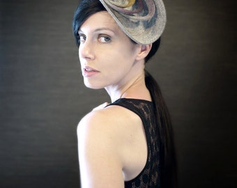 Sculptural Industrial Felt Fascinator with Ombre Grey/Purple/Yellow Accents - Orbital Series - Made to Order