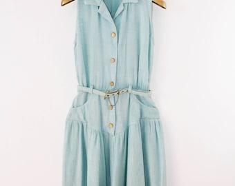1960's Short Sleeve Mint Dress