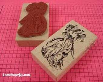 Flower Fairy Stamp / Invoke Arts Collage Rubber Stamps