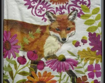 "napkin ""Fox among the flowers"""