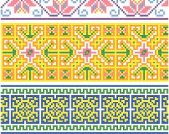 Hmong Inspired Borders Collection 2 Cross Stitch Pattern PDF