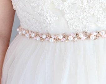 SALE Bridal Belt Bridesmaid Belt Pink Wedding Belt Rhinestone Beaded Bridal Sash Belt Wedding Dress Sash Thin Pearl Rhinestone Belt