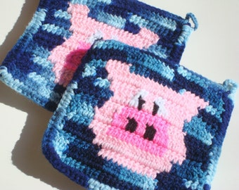 Blue and Pink Pig Potholders - Crochet Pot Holders, Potholders, Hotpads, Hot Pads, Trivet Set of Two - Farm Animal Kitchen MADE TO ORDER