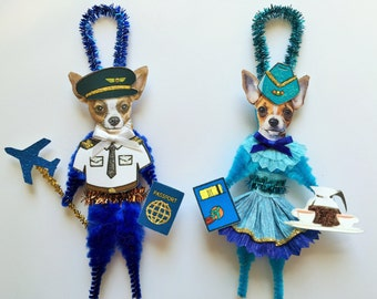 Chihuahua PILOT & STEWARDESS ornaments Airline Profession Dog ornaments vintage style chenille ORNAMENTS set of 2