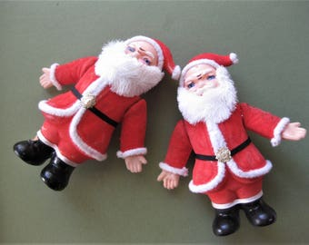 Vintage Flocked, Standing Santa Claus Twins, Fun, Always Christmas, Mid Century Decorations