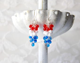 Red White Blue Earrings, Fourth of July, Fringe Bead Earrings, Fringe Jewelry, Red Jewelry, Beaded Earrings, Colorful Earrings, July 4th