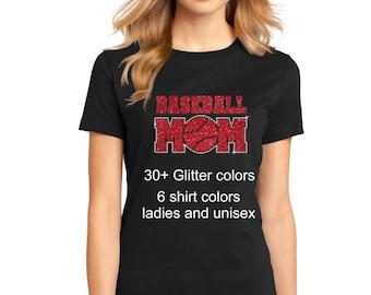 Women's Glitter and Rhinestone Baseball Mom Shirt