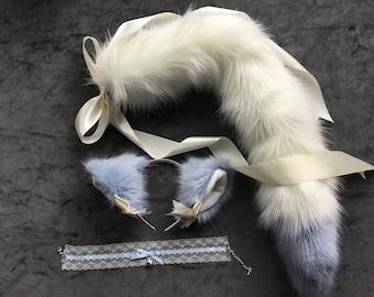 """Beautiful Kitten Play Set Luxury 26 """" Inch Sky Kitten Play Faux Fur Cute Kitten Play Tail, Collar & Kitten Play Ears."""