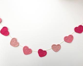Crochet Heart Garland, Mothers Day Gift, Heart Decoration, Heart Bunting, Crochet Hearts, Crochet Spring Decor, Wedding Decoration, Wedding
