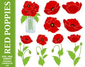 Digital Poppies Clip Art - Red, Green, Flowers, Mason Jar, Bouquet Clip Art