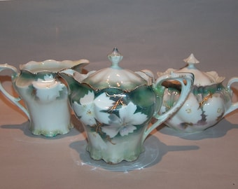8401: Antique Signed RS Prussia 3 pc Tea Set (5 pc w lids) Teapot Creamer Sugar at Vintageway Furniture