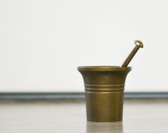 Vintage Miniature Brass Mortar & Pestle
