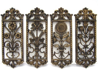 Home Interiors® Gold Black Floral Wall Plaques 4 Piece Set Hanging Wall  Decor