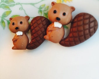 Earrings Mix and Match Collection Matching Set Beaver Buddies post or dangle