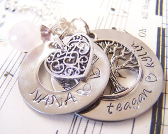 Gift for Mom Double Washer Necklace, Family Tree Necklace, Sterling Silver Alternative, mothers Gift, Customizable Family Necklace