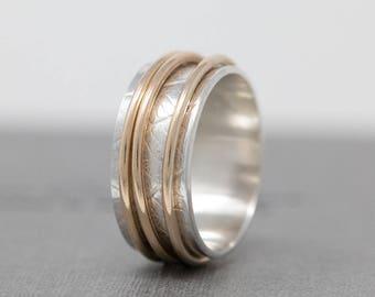 Sterling Silver Spinner Ring w 3 Solid 9ct Gold Fidgets Gold Fidget Ring Leaf Skeleton Patterned Spinner Ring Worry Ring Meditation Ring
