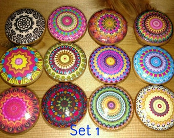 Mandala Bright Wood Knobs  Cherry Wood Knob Size 1.5 Bright Fun Drawer Pulls Dresser Knobs