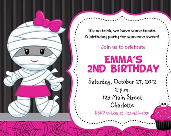 Mummy Girl Halloween party invitation Mummy Birthday Invitation You print or I print any hair color