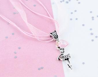 Ballerina Ribbon Necklace, Kids Necklace, Organza Jewellery, Lightweight Necklace, Kids Ballet Gifts, Girls Dance Jewelry, Dancer Necklace
