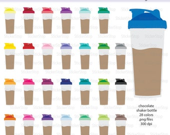 Chocolate Shaker Bottle - Protein Shake - Smoothie Bottle Icon Digital Clipart in Rainbow Colors - Instant download PNG files