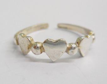 Toe Ring, Sterling Toe Ring, Vintage Toe Ring, Silver Toe Ring, Heart Toe Ring, Genuine Sterling Silver 925 Heart Hearts Toe Ring #3366