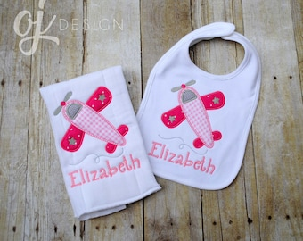 Airplane baby etsy personalized baby bib and burp cloth airplane baby newborn infant burp cloth and negle Gallery