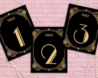 Great Gatsby Art Deco Table Cards 1-40, Table Numbers, Table Decoration -  1920's, 20's Style - Black and Gold - Instant Download