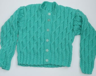 "Ladies Short Length Cable Cardigan (36"" - 38"" Chest) Spearmint Green"