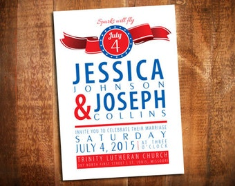 4th of July Wedding Invitation - 4th of July Invites - Patriotic Party Invite - Fourth of July Wedding - Patriotic Wedding Invite