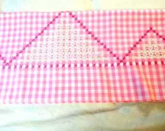 Pretty Pink & white gingham check Pillow case Standard w Embroidery
