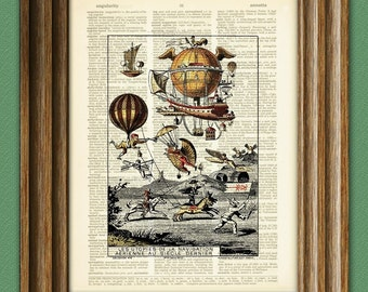 Future Flight Hot Air Balloons beautifully upcycled vintage dictionary page paper book art print