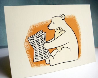Reading the Paper Blank Greeting Card