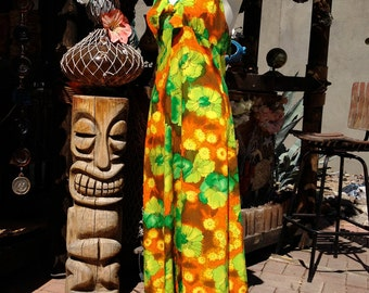 Vintage 70s Hawaiian Halter Dress Maxi Length 1970s  Tiki Print Ruffle Bottom Hem Bow Tie Front Yellow Orange Green Small