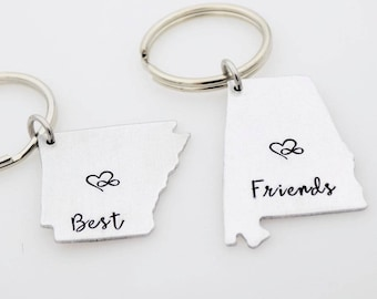 Custom friend Gift Long Distance Friends, Best Friends Set Matching BFF, Going away gift, Living Apart, Long Distance Gifts, State keychains