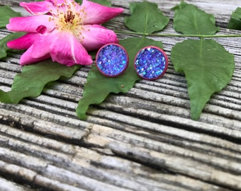 12mm Purple Druzy Studs. Purple and Pink Earrings.