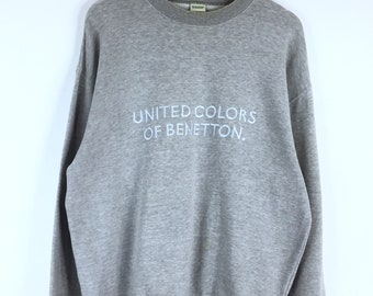 Super Rare!!! Vintage Benetton Sweatshirt  United Colors Of Benetton Embroidery Spellout Jumper Pullover