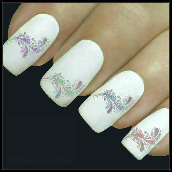 Paisley Nail Art: Nail Decal Paisley Nail Art 20 Water Slide Decals Fingernail