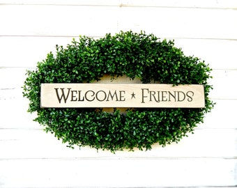 Welcome Wreath-New Years Wreath-Welcome Sign-Wreath-Oval BOXWOOD Wreath-Wall Hanging-Year Round Wreath-Country Home Decor-Scented Wreaths