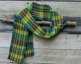 Handwoven Scarf, Lightweight Scarf,  Purple, Green Scarf, Long Scarf, Woven Scarf, Fashion Scarf, Wool Scarf