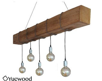 "Edison pendant lamp, ""Douglas Two"", wood lighting, Bar lighting, industrial, minimalist lamp, Loft, (including 5 filaments)"