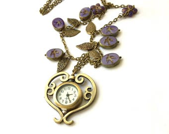 Beaded Watch Necklace \ Purple Swallow Czech bead Necklace \ Long Necklace Bronze Pocket Watch Handamade