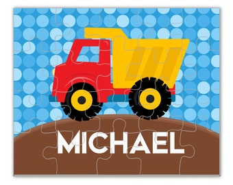 Construction Truck Puzzle - Construction Puzzle, Blue Dots, Dump Truck Personalized Puzzle, You Pick Boy - Kids Personalized Gift under 20